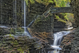 Rainbow Falls At Watkins Glen State Park In New York